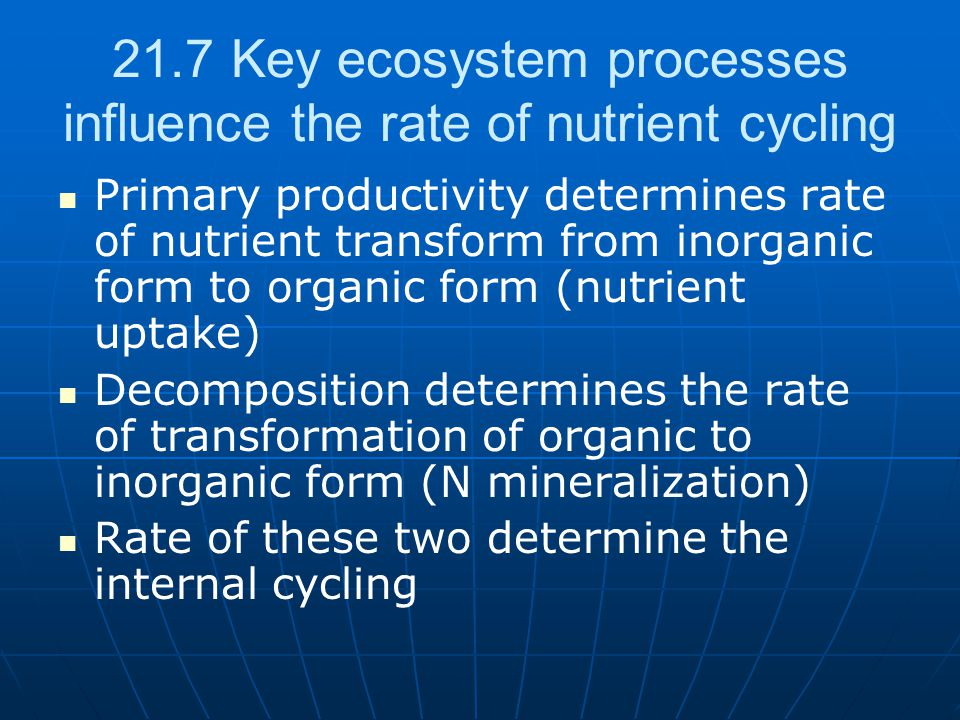 21.7 Key ecosystem processes influence the rate of nutrient cycling