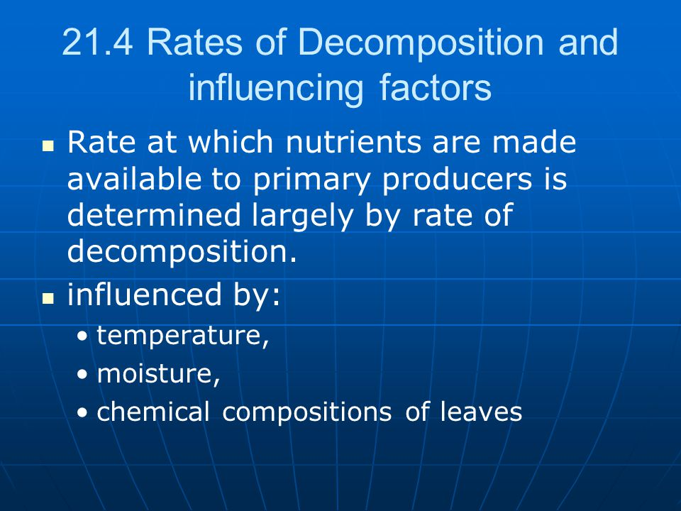 21.4 Rates of Decomposition and influencing factors