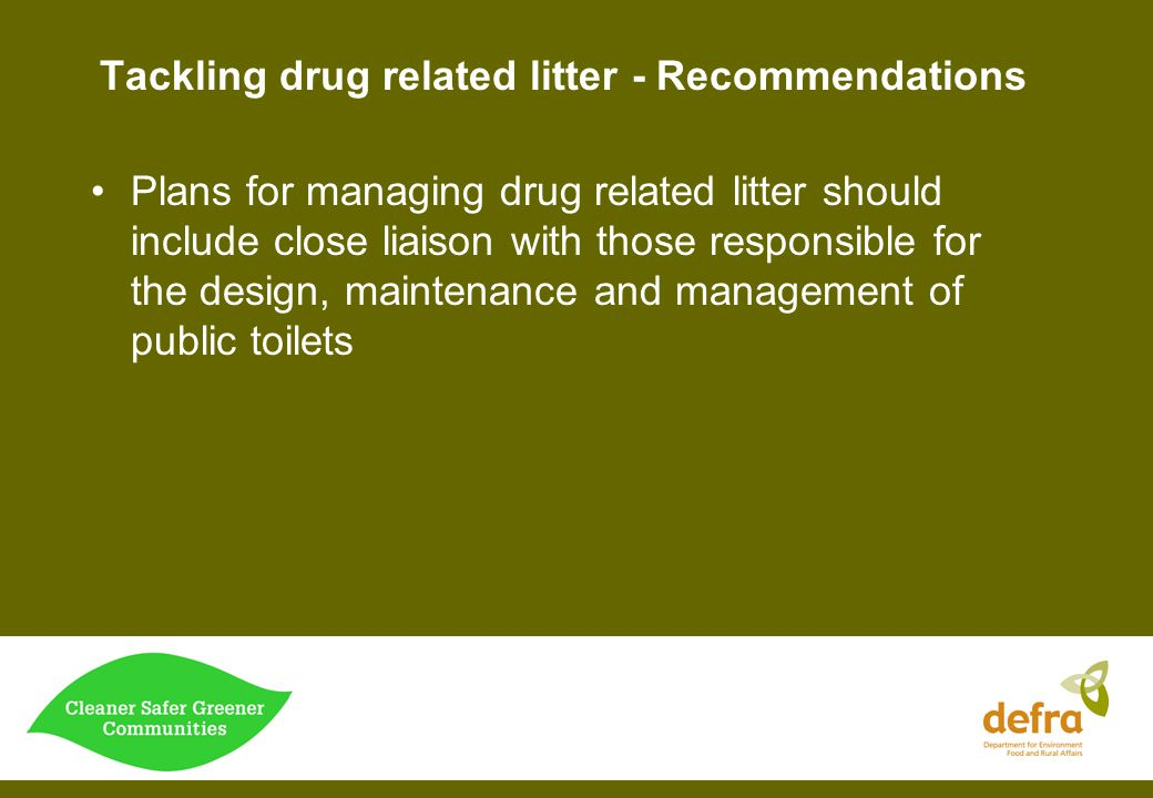 Tackling drug related litter - Recommendations