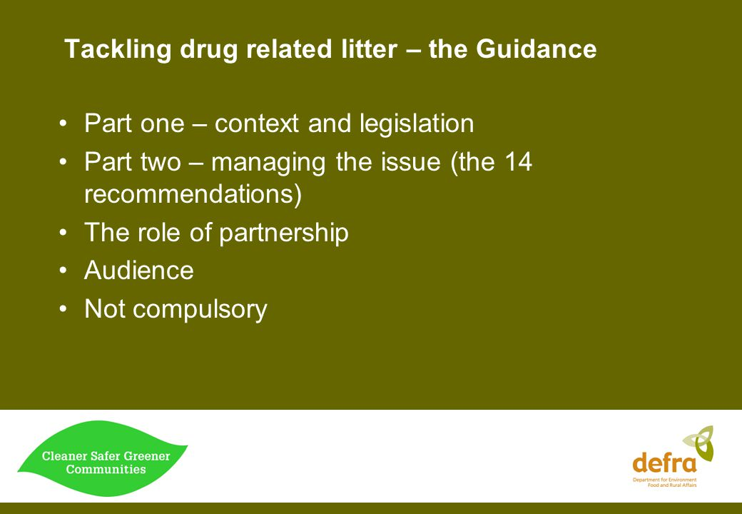 Tackling drug related litter – the Guidance
