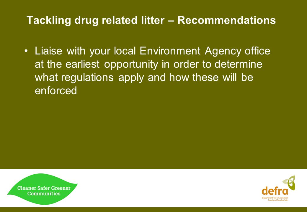 Tackling drug related litter – Recommendations