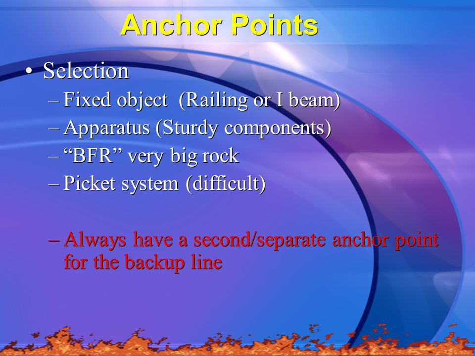 Anchor Points Selection Fixed object (Railing or I beam)
