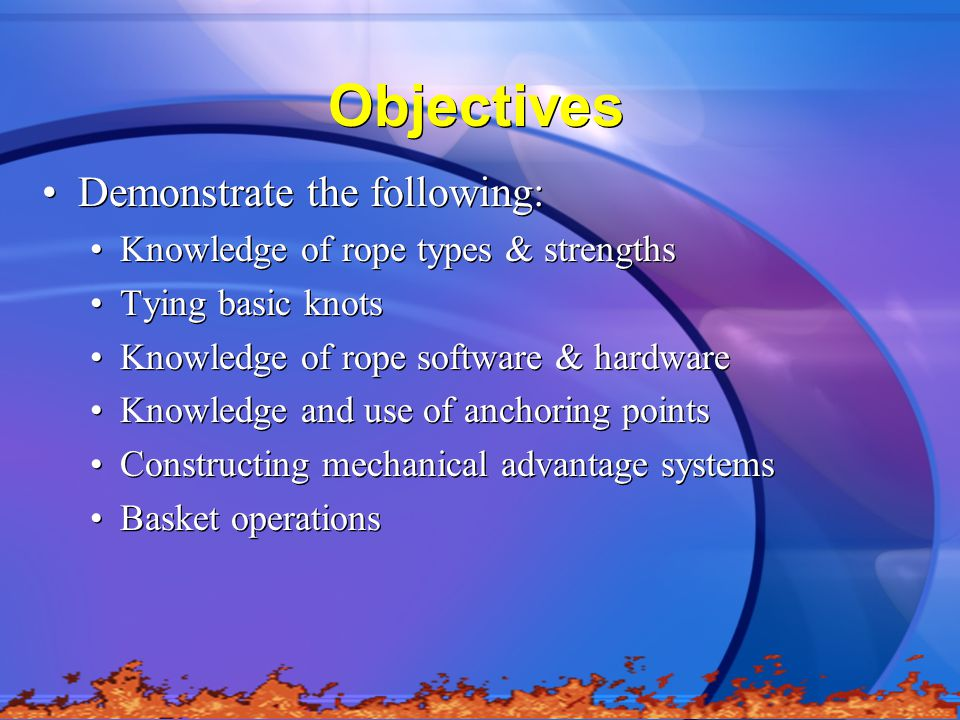 Objectives Demonstrate the following: