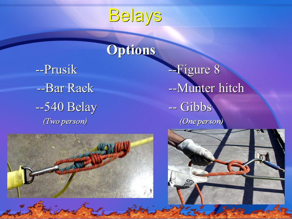 Belays Options --Prusik --Figure 8 --Bar Rack --Munter hitch