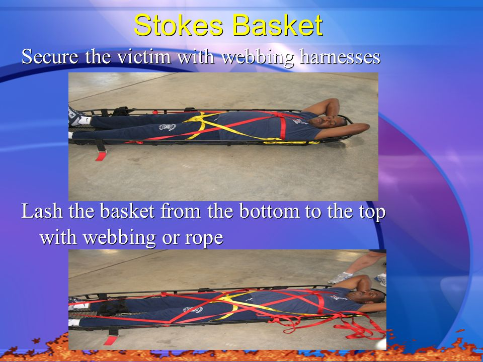 Stokes Basket Secure the victim with webbing harnesses