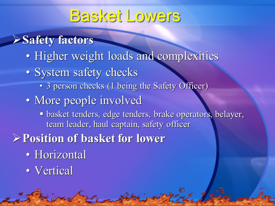 Basket Lowers Safety factors Higher weight loads and complexities