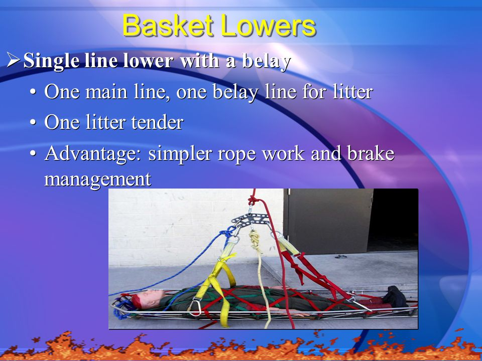 Basket Lowers Single line lower with a belay