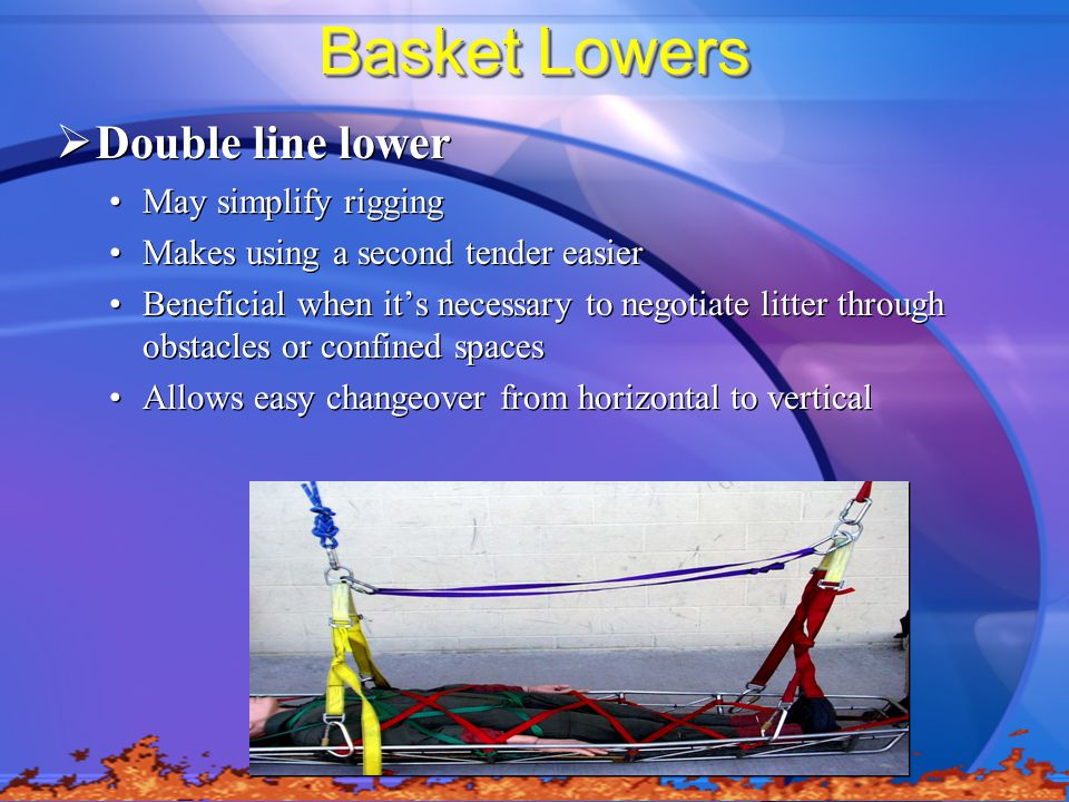 Basket Lowers Double line lower May simplify rigging