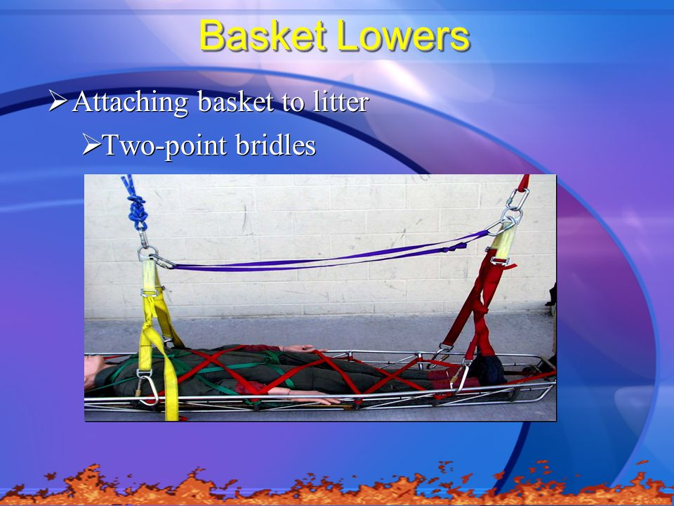 Basket Lowers Attaching basket to litter Two-point bridles