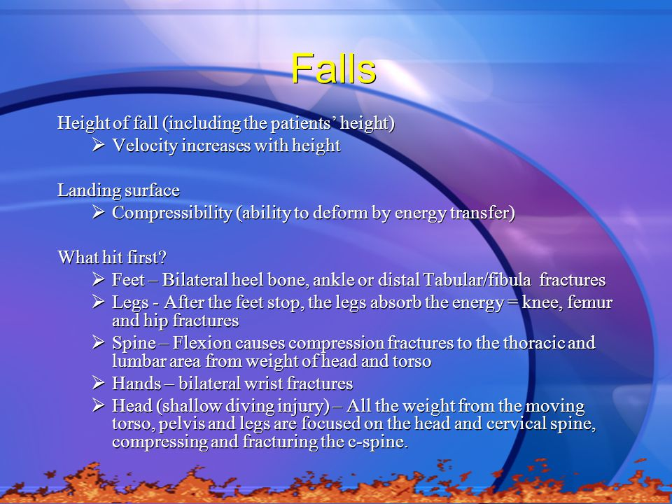 Falls Height of fall (including the patients' height)