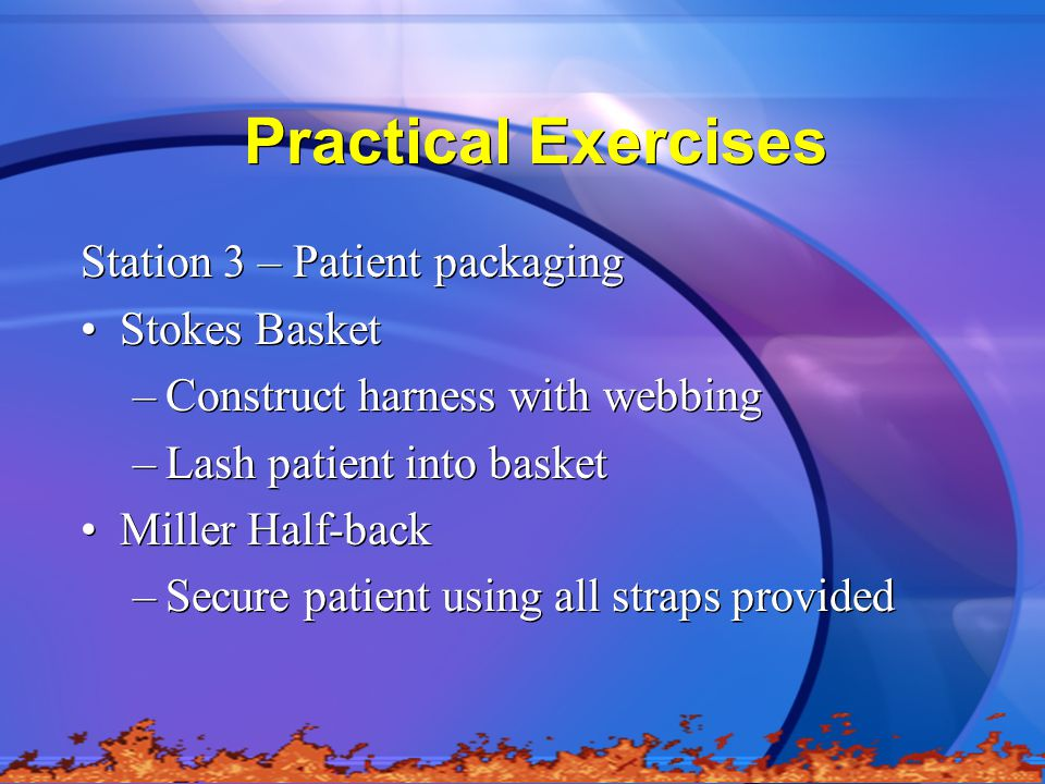 Practical Exercises Station 3 – Patient packaging Stokes Basket