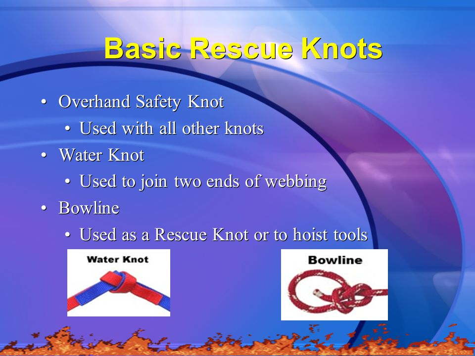 Basic Rescue Knots Overhand Safety Knot Used with all other knots