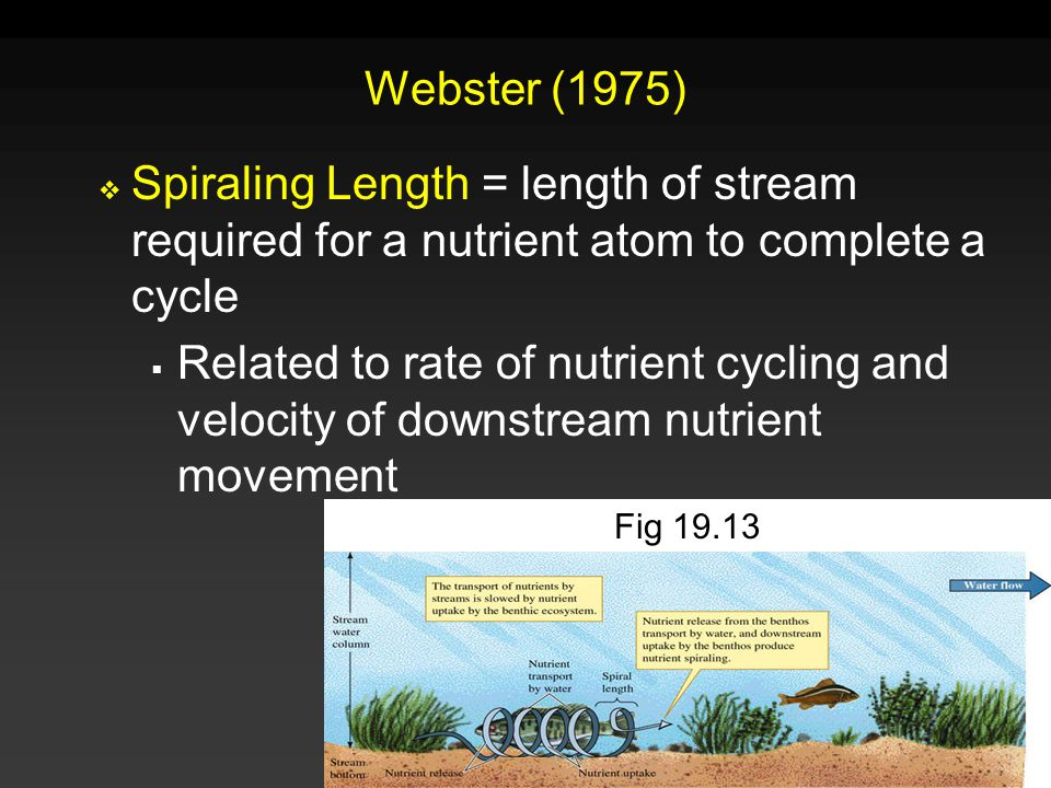 Webster (1975) Spiraling Length = length of stream required for a nutrient atom to complete a cycle.