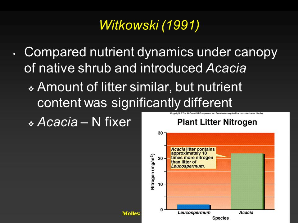 Witkowski (1991) Compared nutrient dynamics under canopy of native shrub and introduced Acacia.