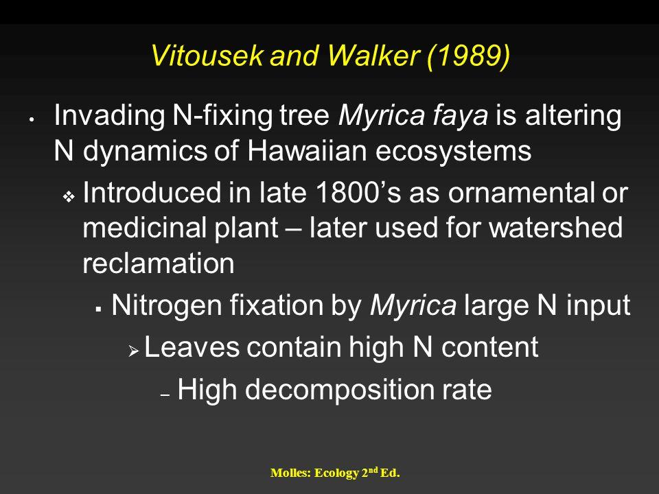 Nitrogen fixation by Myrica large N input
