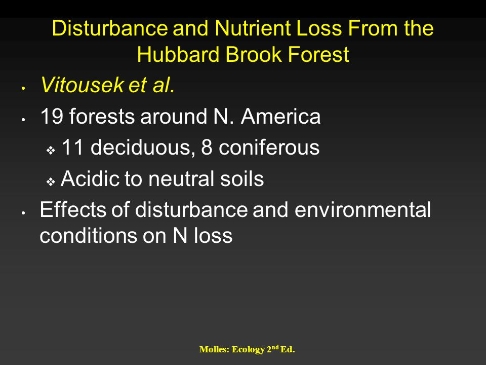 Disturbance and Nutrient Loss From the Hubbard Brook Forest