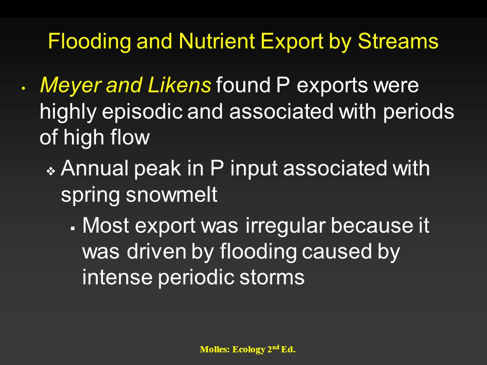 Flooding and Nutrient Export by Streams