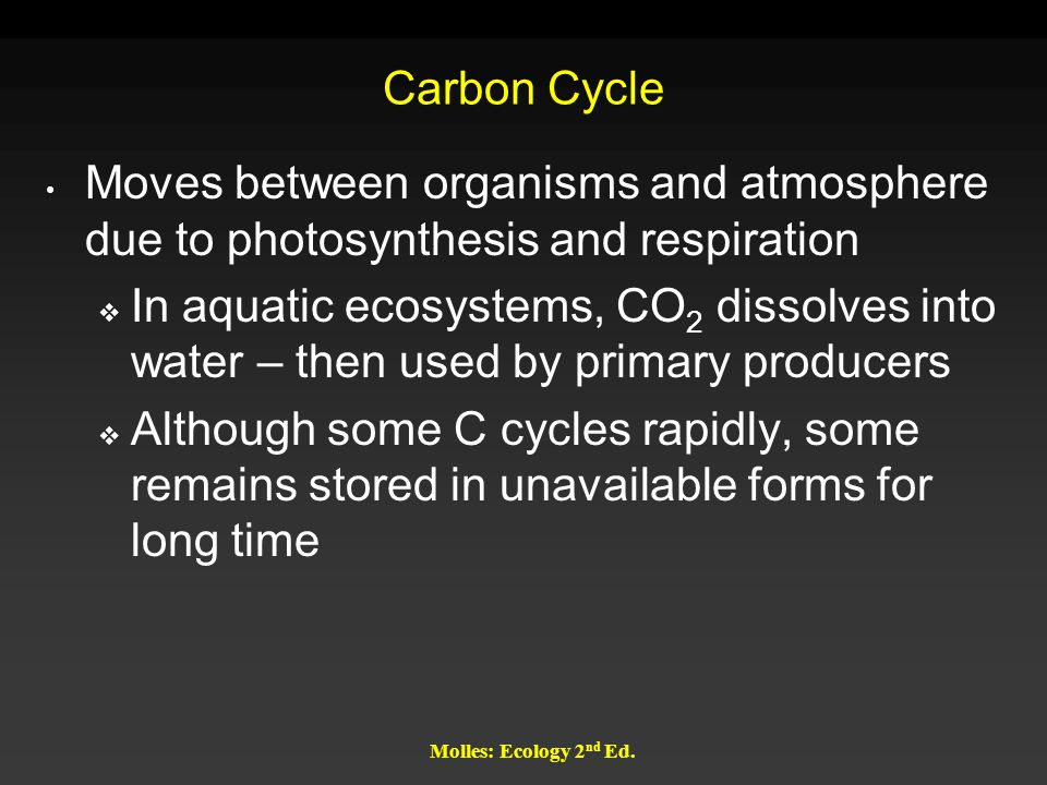 Carbon Cycle Moves between organisms and atmosphere due to photosynthesis and respiration.