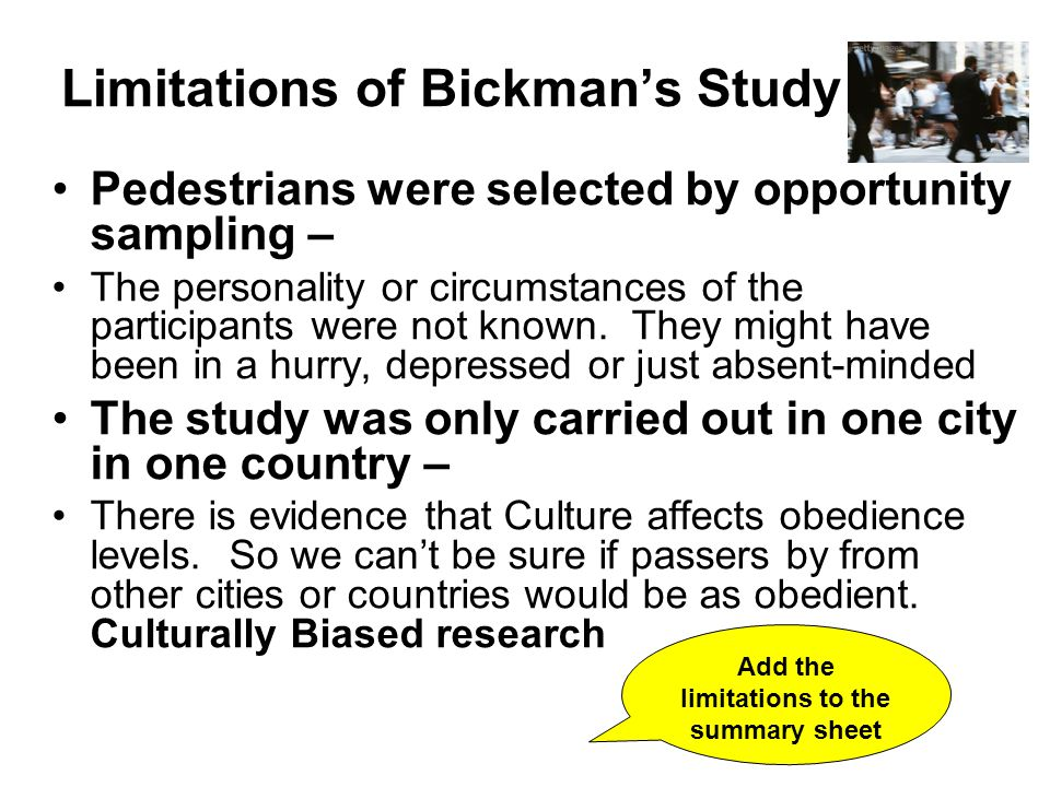Limitations of Bickman's Study