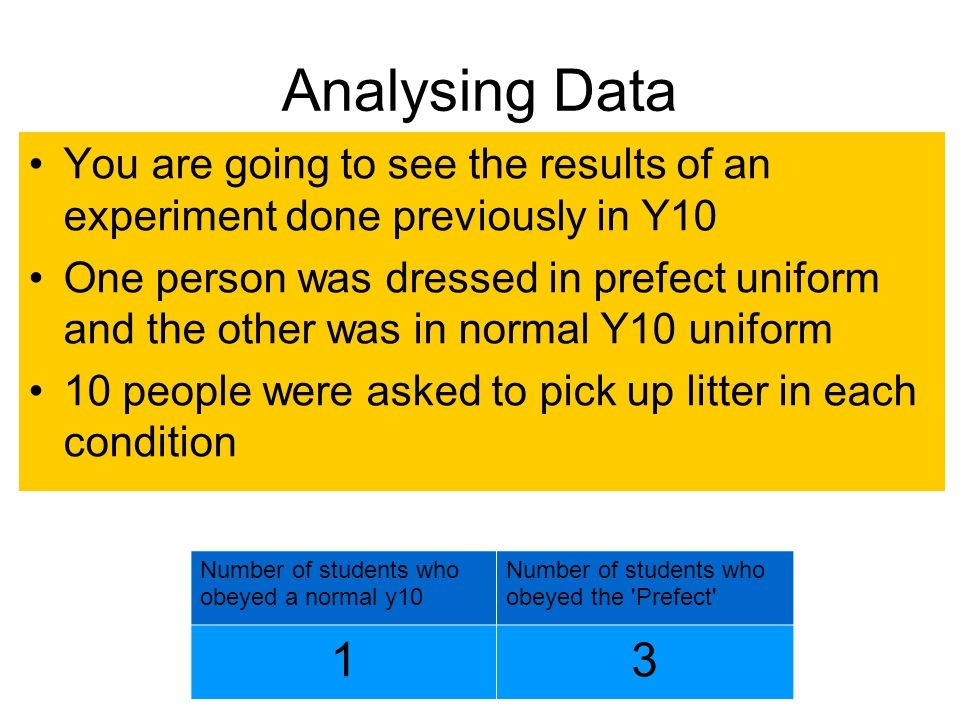 Analysing Data You are going to see the results of an experiment done previously in Y10.