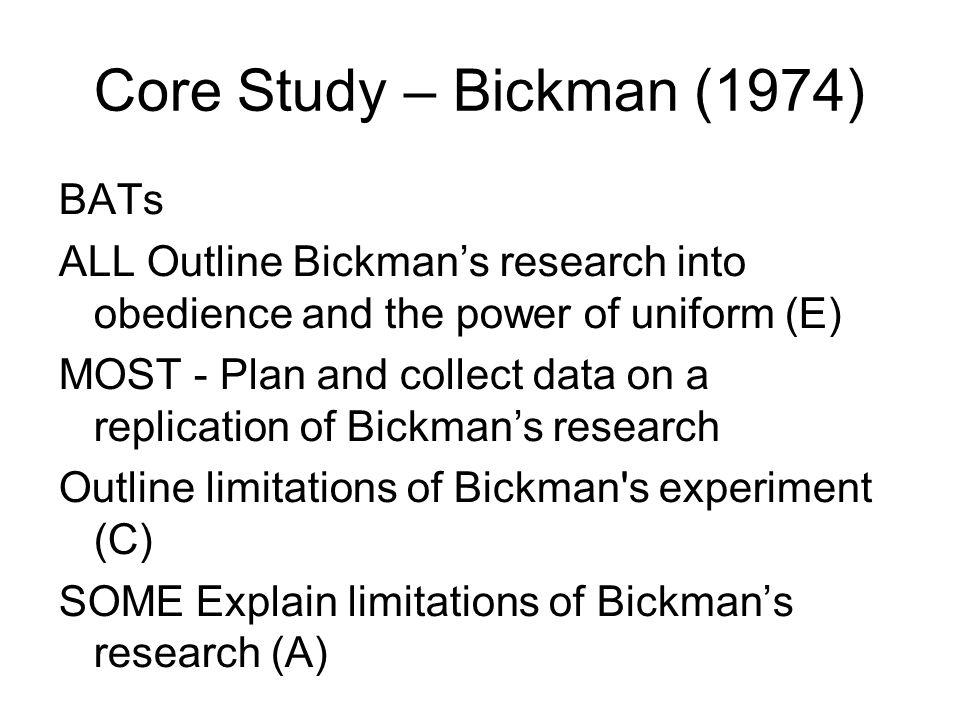 Core Study – Bickman (1974) BATs