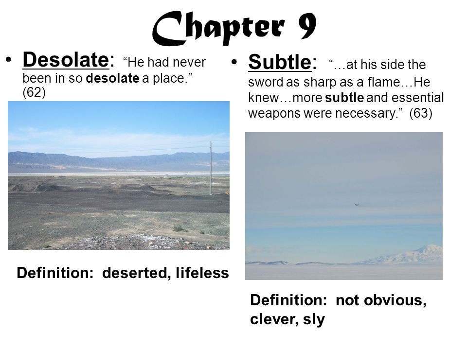 Chapter 9 Desolate: He had never been in so desolate a place. (62)