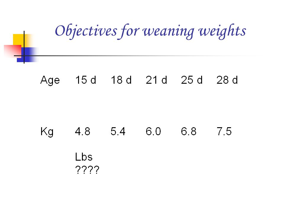 Objectives for weaning weights