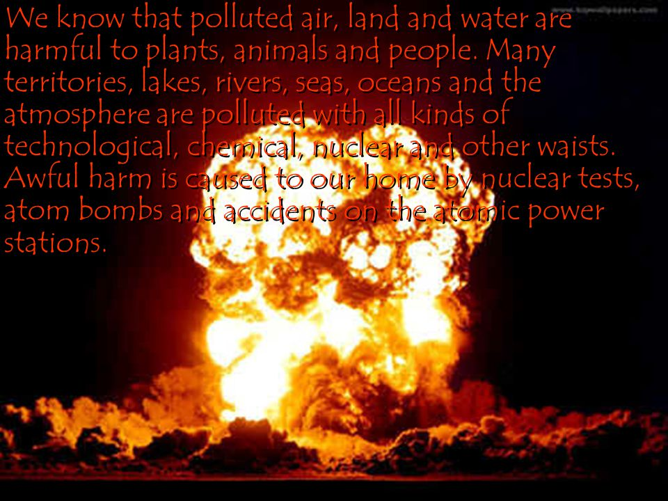 We know that polluted air, land and water are harmful to plants, animals and people.