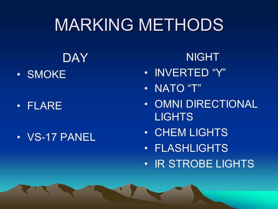 MARKING METHODS DAY NIGHT INVERTED Y SMOKE NATO T
