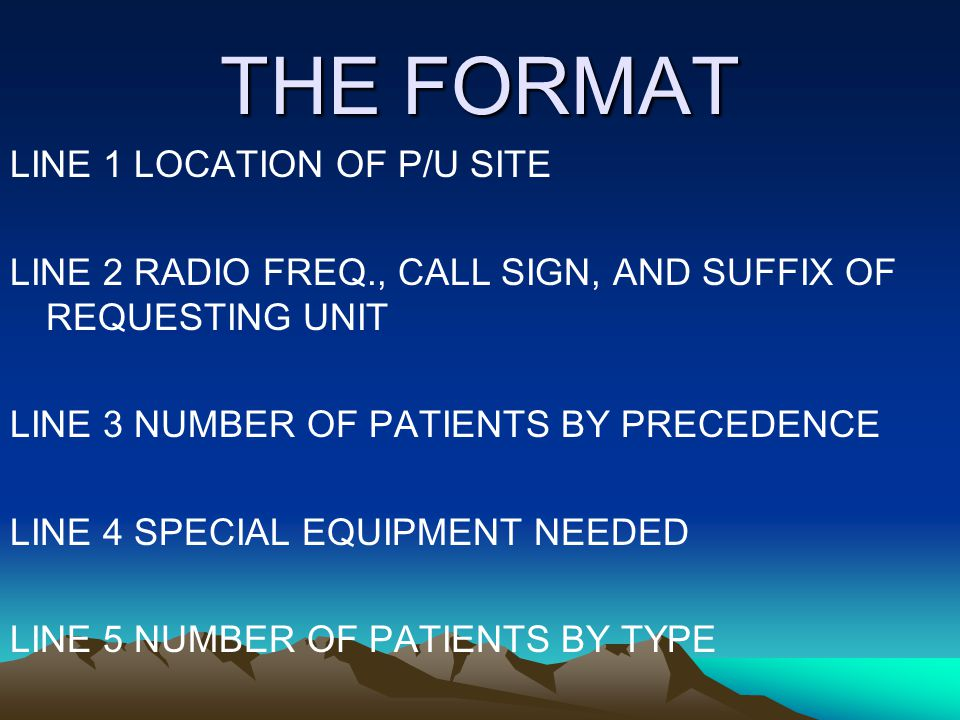 THE FORMAT LINE 1 LOCATION OF P/U SITE