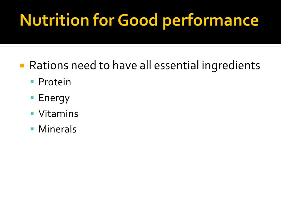 Nutrition for Good performance