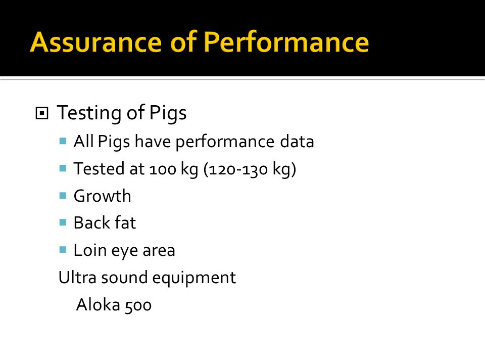 Assurance of Performance