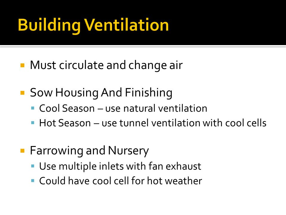 Building Ventilation Must circulate and change air