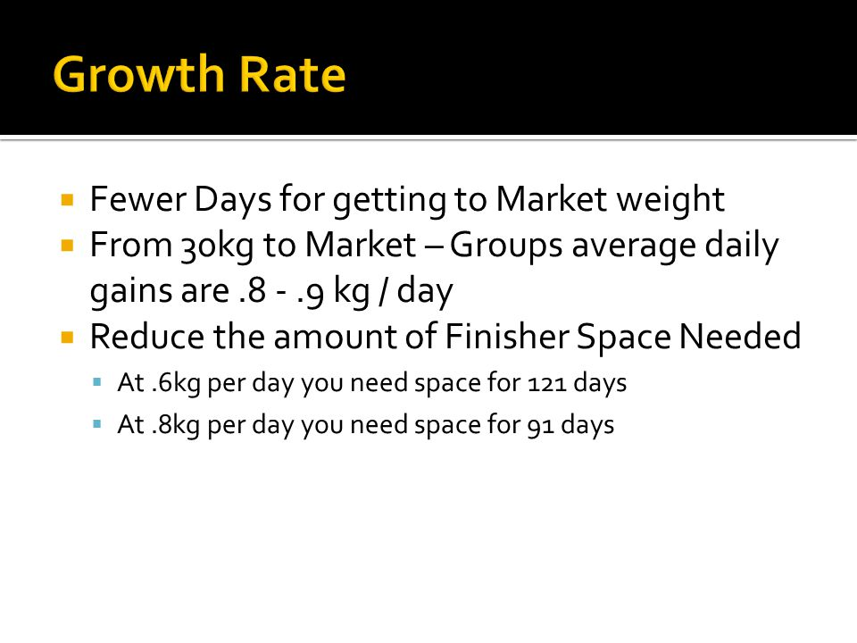 Growth Rate Fewer Days for getting to Market weight