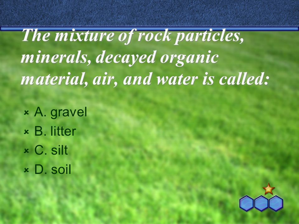 The mixture of rock particles, minerals, decayed organic material, air, and water is called: