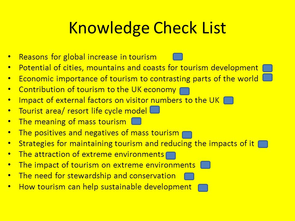 Knowledge Check List Reasons for global increase in tourism