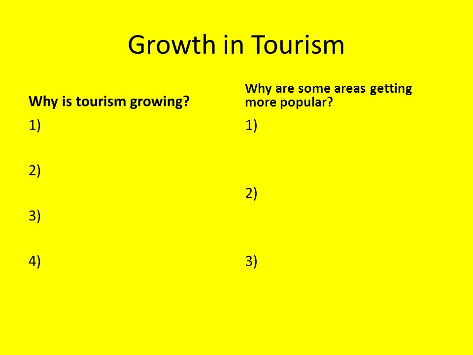 Growth in Tourism Why is tourism growing 1) 2) 3) 4) 1) 2) 3)