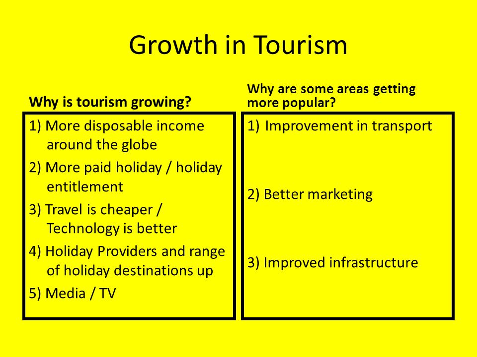 Growth in Tourism Why is tourism growing