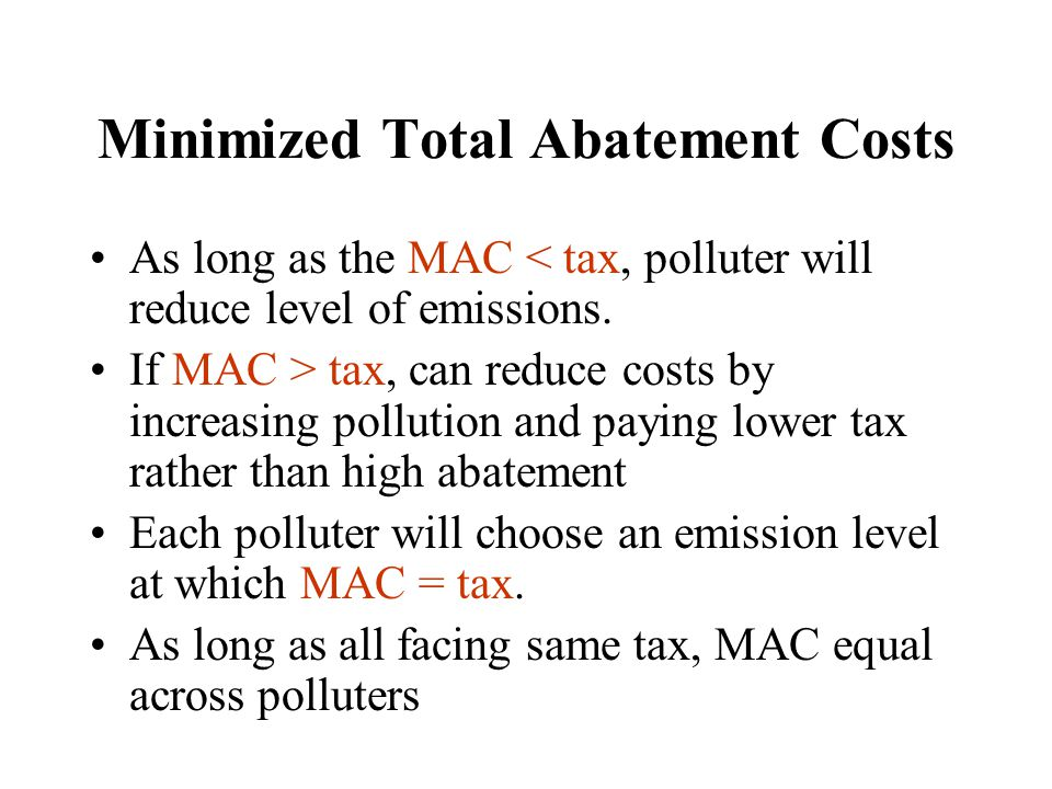 Minimized Total Abatement Costs
