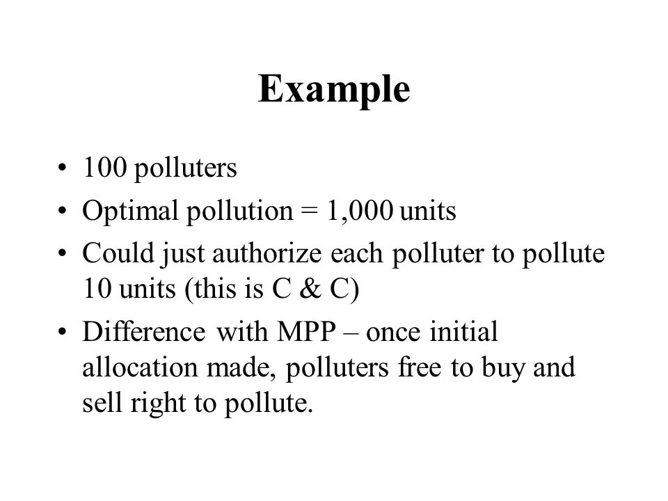 Example 100 polluters Optimal pollution = 1,000 units