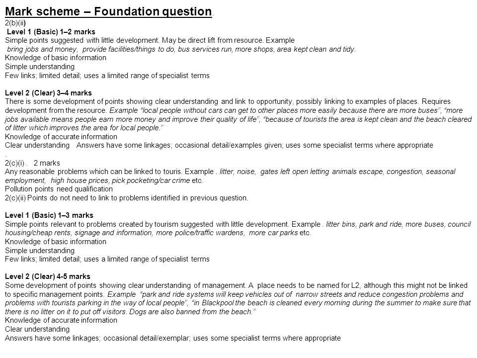 Mark scheme – Foundation question.