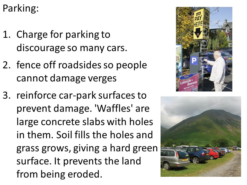 Parking: Charge for parking to discourage so many cars. fence off roadsides so people cannot damage verges.