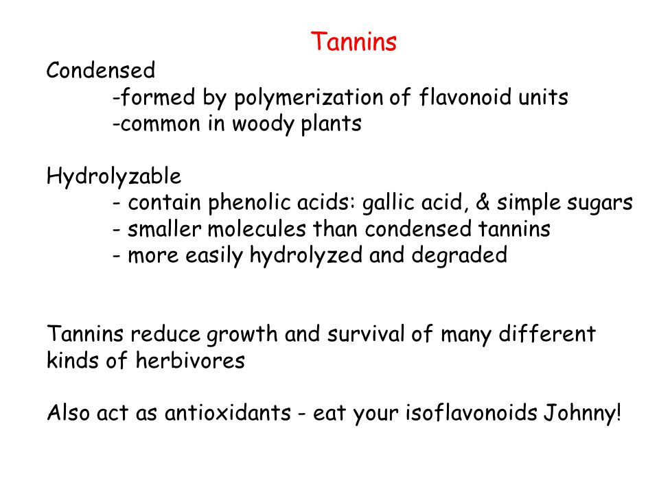 Tannins Condensed. -formed by polymerization of flavonoid units. -common in woody plants. Hydrolyzable.