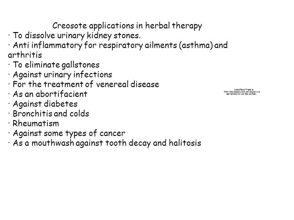 Creosote applications in herbal therapy