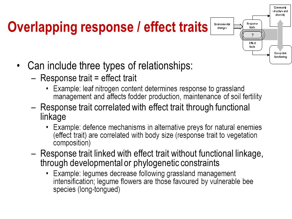 Overlapping response / effect traits