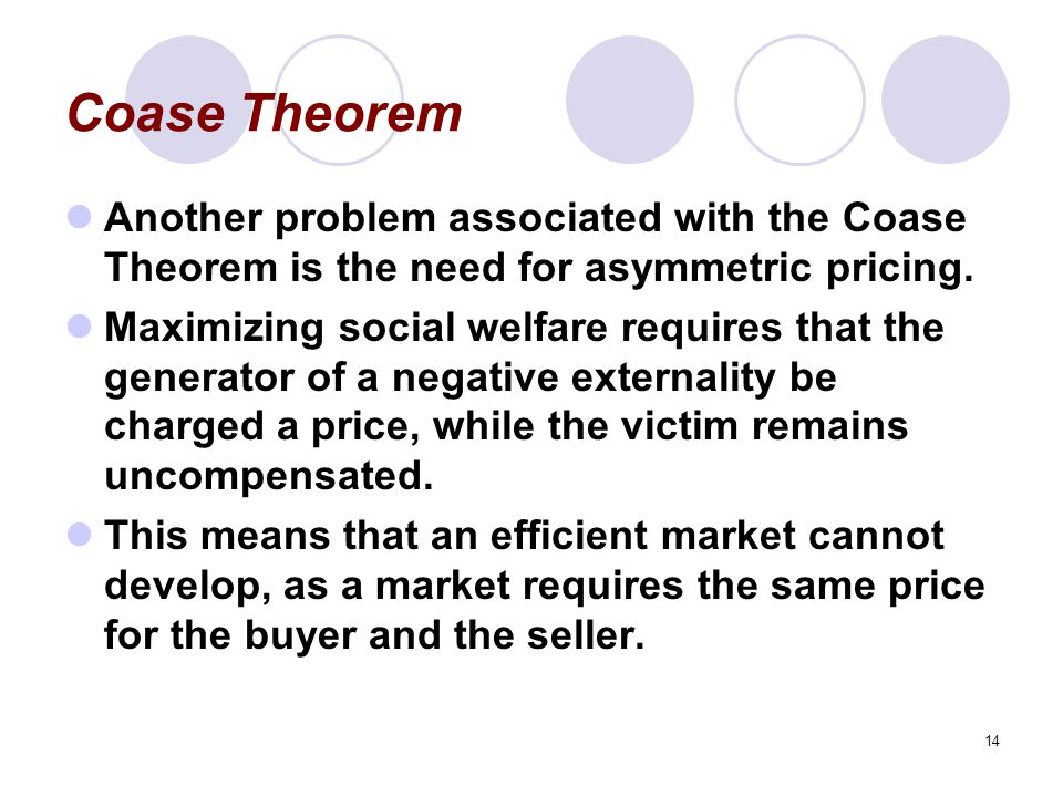 Coase Theorem Another problem associated with the Coase Theorem is the need for asymmetric pricing.
