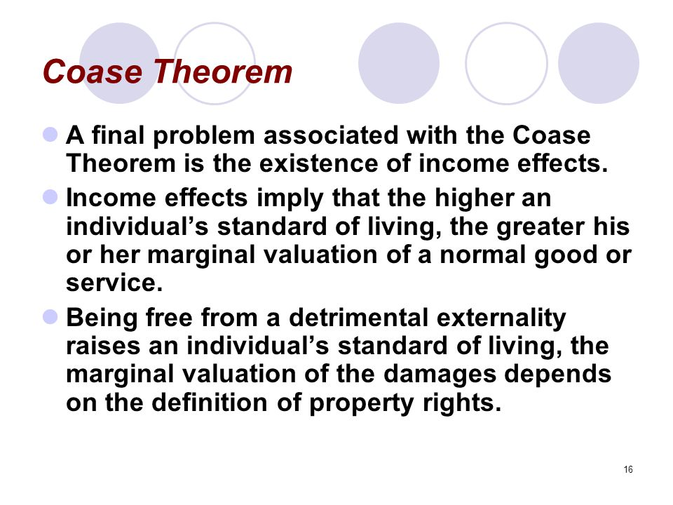 Coase Theorem A final problem associated with the Coase Theorem is the existence of income effects.