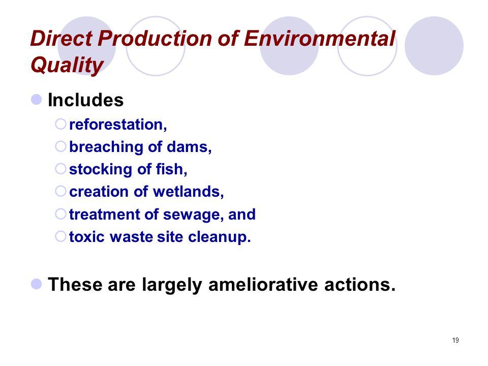 Direct Production of Environmental Quality