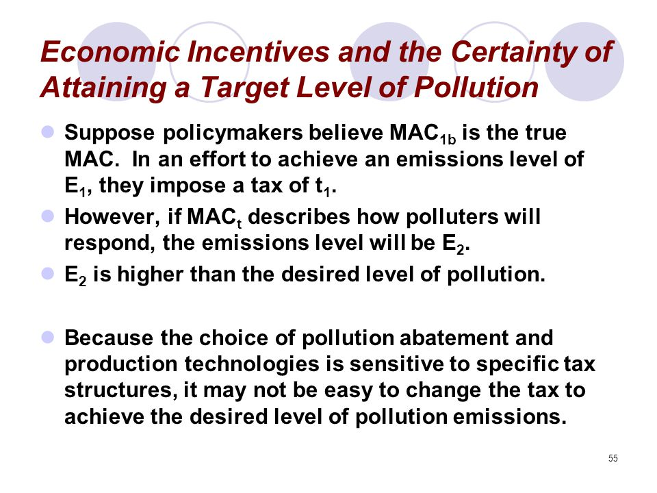 Economic Incentives and the Certainty of Attaining a Target Level of Pollution