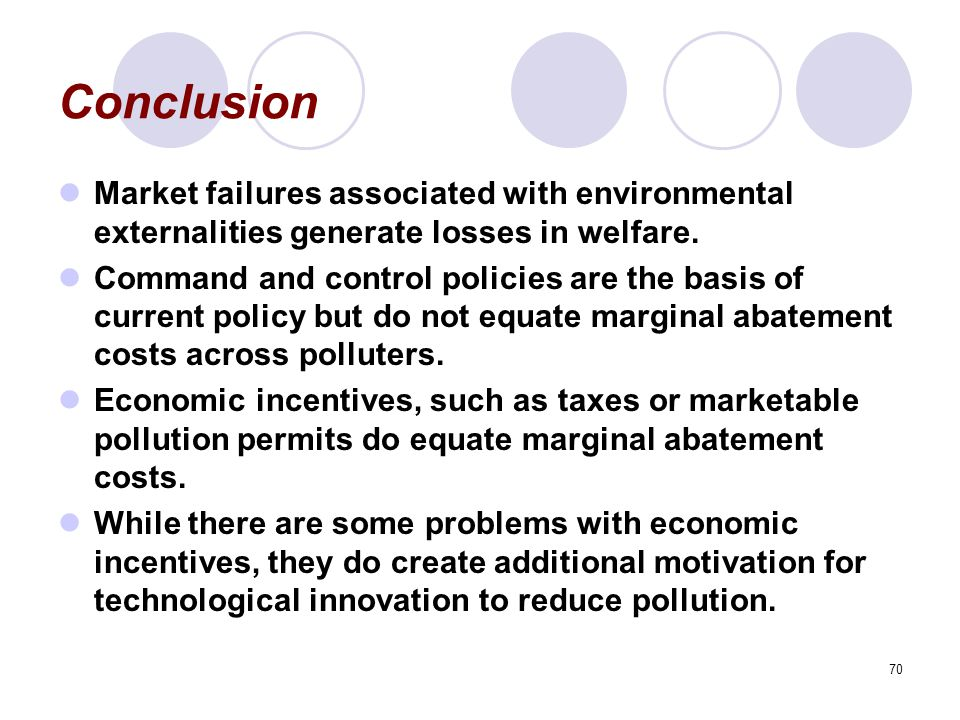 Conclusion Market failures associated with environmental externalities generate losses in welfare.